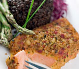 Wild Salmon with Horseradish Almond Crust