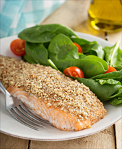 Almond Crusted Salmon with Oven-Roasted Asparagus
