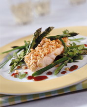 Almond Encrusted Halibut and Asparagus and Red Bell Pepper Saute