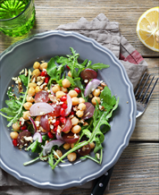 Arugula, Chickpea & Roasted Red Pepper Salad