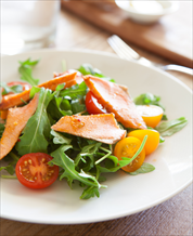 Arugula Salad with Roasted Sesame Salmon