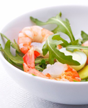 Arugula Salad with Shrimp & Grapes