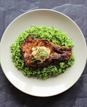 Asian-Style Pork Chops with Brocco-Rice and Ginger Mayonnaise