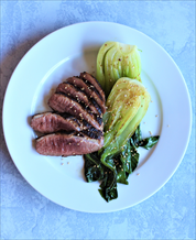 Asian Duck Breasts, Quick Braised Bok Choy and Superfat Cauliflower Rice