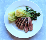 Asian Pan-Seared Duck Breasts with Quick-Braised Baby Bok Choy