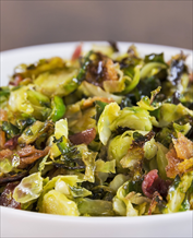Bacon Brussels Sprouts with Poached Eggs