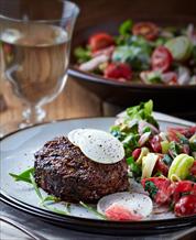 Bacon Burgers Over Kale Salad