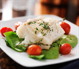 Baked Halibut with Spinach, and Cherry Tomatoes