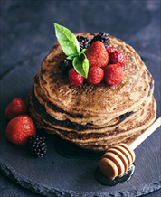 Baked Plantain Pancakes with Blueberry Compote