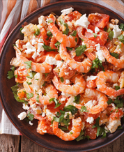 Baked Shrimp with Feta and a Kale Avocado Salad