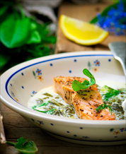 Baked Wild Salmon with Coconut Creamed Leeks