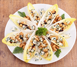 Belgian Endive Stuffed with Apples, Walnuts & Gorgonzola Cheese