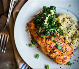 Broiled Salmon with Mashed Cauliflower & Sauteed Spinach