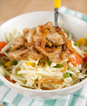 Cabbage Slaw with Chicken & Onions