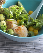 Caribbean Jerk Scallop Salad with Pineapple