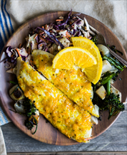 Cassava-Crusted Flounder with Cabbage Slaw + Broccoli