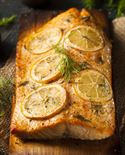 Cedar-Planked Salmon with Mustard Glaze and Walnut-Leek Salad