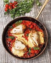 Chicken Capri, Sautéed Asparagus and Arugula with Lemon Vinaigrette
