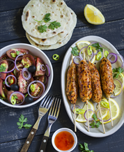 Chicken Kofta with Cassava Tortillas and Tomato-Olive Salad