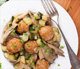 Chicken Meatballs With Zucchini And Mushrooms