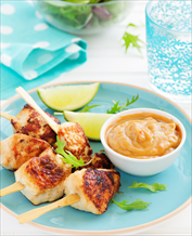 Chicken Satay with Not-Peanut Sauce and Cucumber Salad