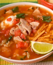 "Chicken ""Tortilla"" Soup & Refried Beans"
