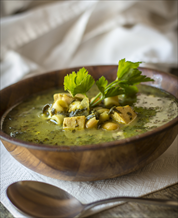Chicken & Spinach Soup with Pesto