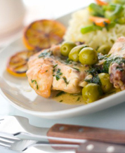 Chicken with Green Olives & Prunes, Sauteed Asparagus & Mixed Green Salad