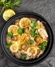 Lemon Chicken with Castelvetrano Olives & Arugula-Avocado Salad