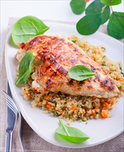 Chicken with Quinoa & Garbanzo Beans and Kale-Avocado Salad