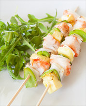 Chili Spiced Halibut Kabobs with Avocado Salsa and Mixed Green Salad with Cumin Lime Vinaigrette