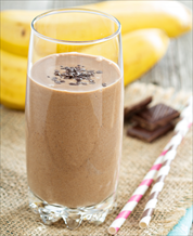 Chocolate, Almond Butter and Banana Smoothie
