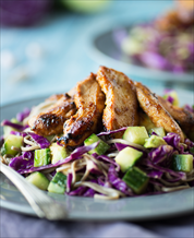 Chopped Chicken, Red Cabbage and Avocado Salad