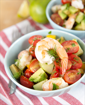 Chopped Mediterranean Salad with Grilled Shrimp and Tuscan White Bean Soup