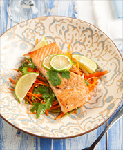 Citrus-Cilantro Salmon with Carrot Slaw