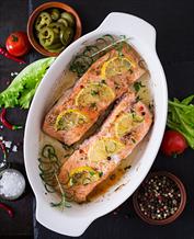 Citrus-Herb Salmon, Sauteed Asparagus & Sweet Potato Wedges