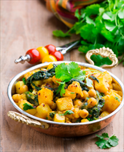 Coconut Curry Chickpeas, Cauliflower and Spinach