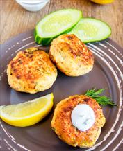 Cod and Shrimp Burgers with Sweet Potato Wedges and Arugula-Avocado Salad