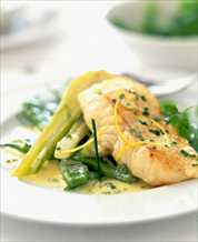 Cod with Creamy Coconut-Lime Sauce and Leeks with Mixed Green Salad