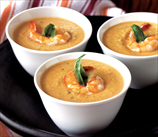 Creamy Roasted Tomato Soup With Wild Shrimp & Basil