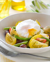 Crunchy Vegetable Bowl with Fried Eggs