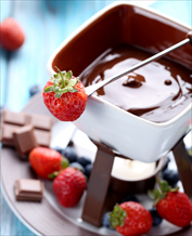 Dessert: Chocolate Fondue with Strawberries