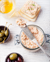 Dill Salmon Pate, Rosemary Paleo Crackers & Olives