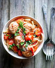 Easy Paleo Fettuccine & Meatballs with Broccoli Rabe