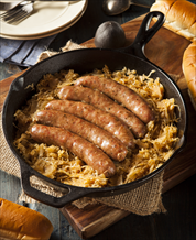 German Bratwurst and Sauerkraut