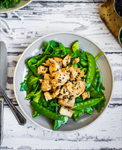 Ginger Sesame Chicken with Snap Peas + Spinach