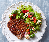 Grass-Fed Steak with Olive, Tomato and Feta Salad