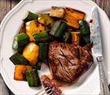 Grass-Fed Steak with Summer Squash and Pine Nuts