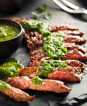 Grass-Fed Skirt Steak with Chimichurri Dressing and Spicy Turnip Frites