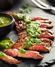 Grass-Fed Skirt Steak with Chimichurri Dressing and Sauteed Broccoli